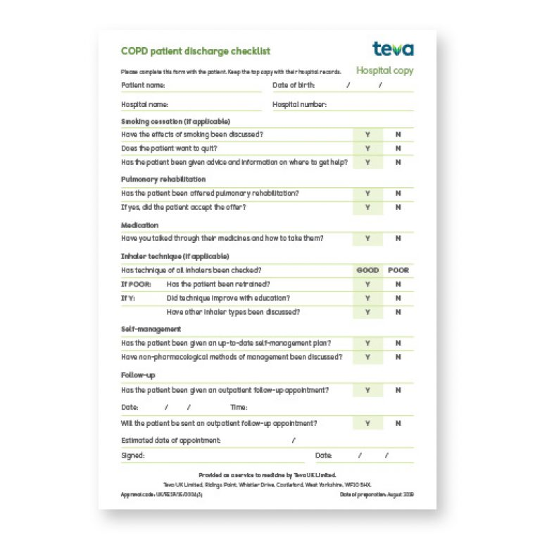COPD discharge pack